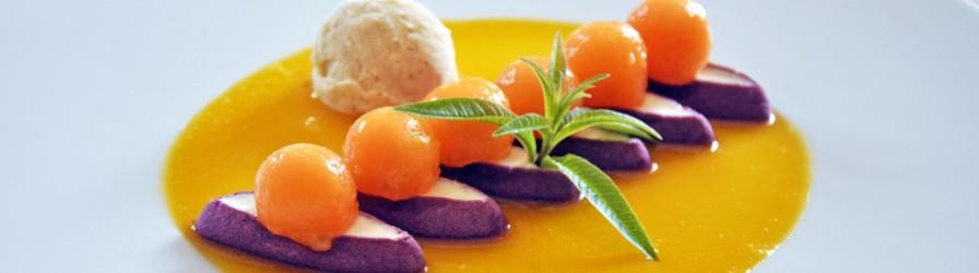 Navettes à la lavande aux billes de melon caramélisées, crème citron