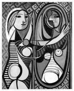 Femme au miroir (Pablo Picasso, 1932) n&b