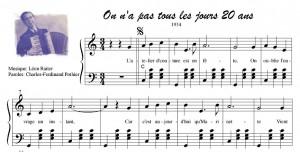 Partition musicale ''On n'a pas tous les jours vingt ans''