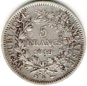 Pièce de 5 francs de 1849