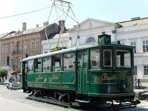 Tramway ancien (centre-ville historique de Košice, Slovaquie)
