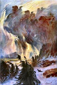 La Chevauchée des Valkyries. (Lithographie d'Hermann Hendrich, 1906)