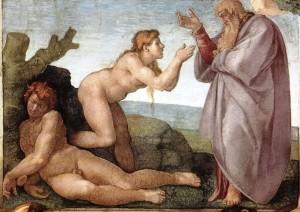 Ève créée par Dieu à partir d'une côte d'Adam, selon la Bible. Fresque du plafond de la chapelle Sixtine réalisée par Michel-Ange (1509)