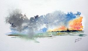 Crépuscule après l'orage (aquarelle de Jacques Albert)