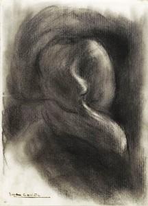 Femme en buste, de face, une main posée sur la joue droite (Eugène Carrière)