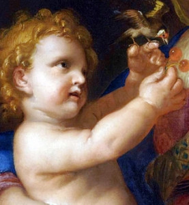 Vierge à l'Enfant tenant un chardonneret et des cerises (Jacques Stella, XVIIè)